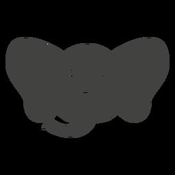 Bozal de cabeza triste de elefante plano