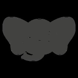 Cabeça de piscadela de elefante focinho plana