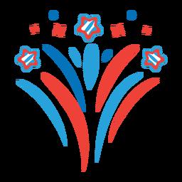 Etiqueta de estrella de rayo de rayos de saludo de fuegos artificiales