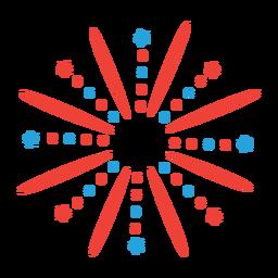 Etiqueta engomada del fuego artificial saludo rayo estrella rayo