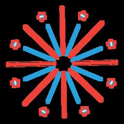 Adesivo de distintivo de feixe de raio de estrela de saudação de fogo de artifício