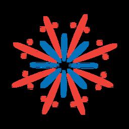 Adesivo de distintivo feixe de raio de saudação estrela de fogo de artifício