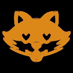 Bozal de cabeza de zorro enamorado plano