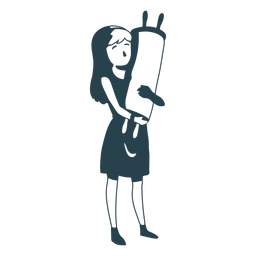 Girl jewish roll scroll detailed silhouette