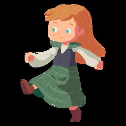 Saia escocesa de menina plana
