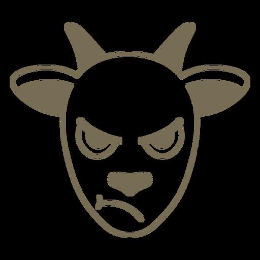 Hocico de cabeza enojada de cabra plana