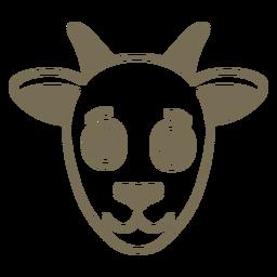 Cabeça de cabra alegre focinho plana