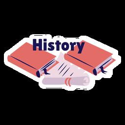 Etiqueta engomada de la insignia del manual del libro de historia
