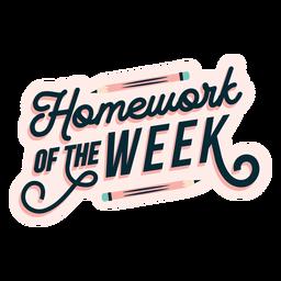 Adesivo de distintivo de lição de casa da semana