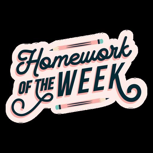 Adesivo de lição de casa da semana Transparent PNG