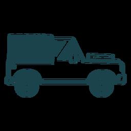 Silhueta detalhada do carro de roda de veículo de corpo de jipe
