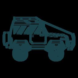 Ausführliches Schattenbild des Jeepautofahrzeugkörper-Rades