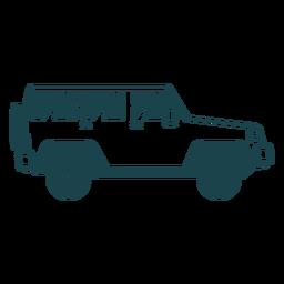 Jeep vehículo rueda carrocería silueta detallada