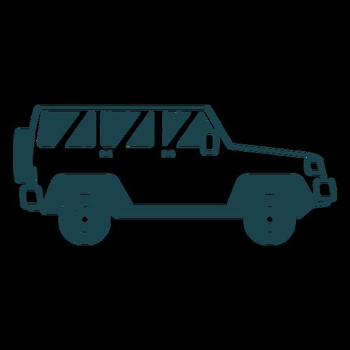 Jeep vehículo rueda carrocería silueta detallada Transparent PNG
