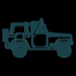 Jipe roda veículo corpo carro silhueta detalhada