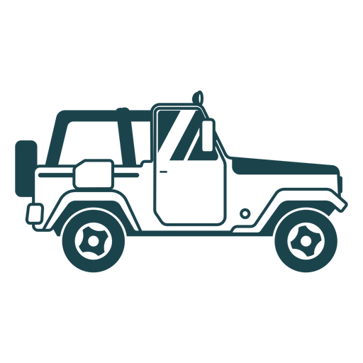 Jeep wheel vehicle body car detailed silhouette Transparent PNG