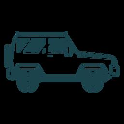 Silhueta detalhada da carroceria do veículo com roda de jipe