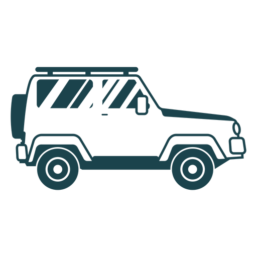 Jeep wheel vehicle car body detailed silhouette