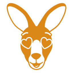 Bozal de cabeza enamorada de canguro plano