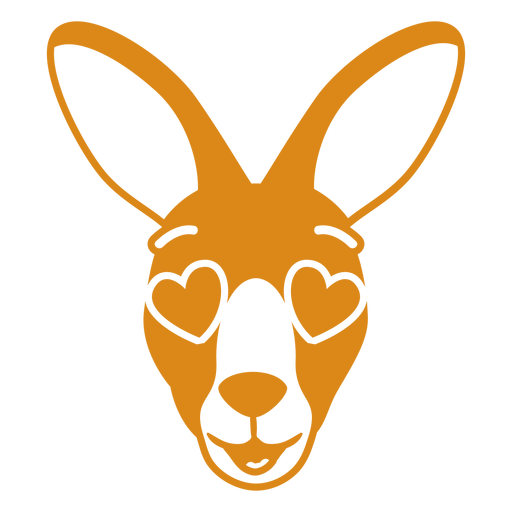 Bozal de cabeza enamorada de canguro plano Transparent PNG