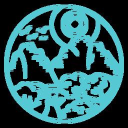 Distintivo de madeira do curso da floresta da montanha da paisagem