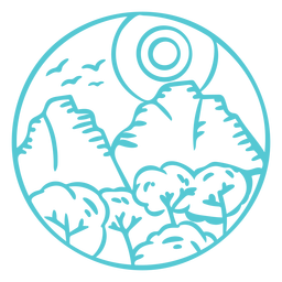 Emblema de acidente vascular cerebral de montanha na paisagem