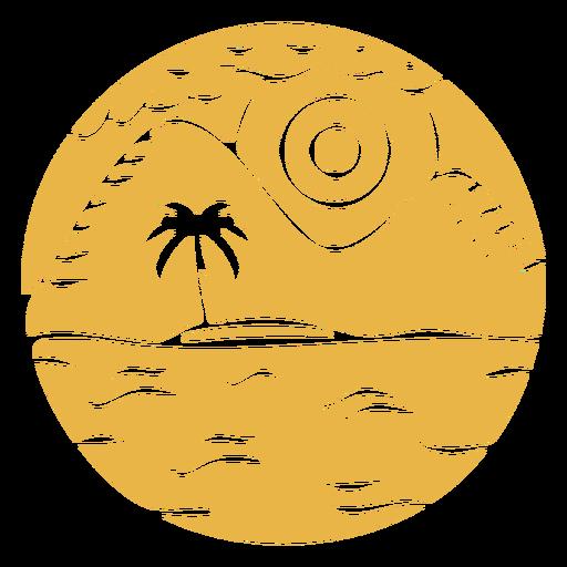 Landscape mountain palm badge Transparent PNG