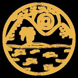 Distintivo de traçado de palmeira de montanha paisagem