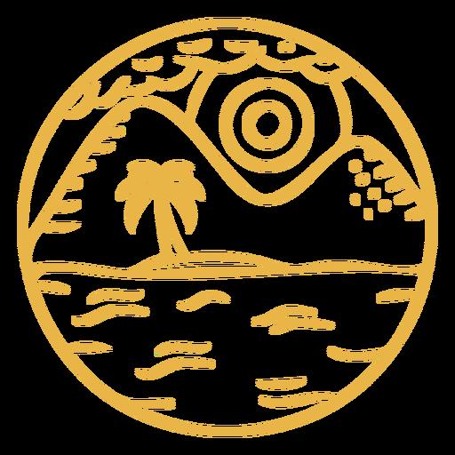 Landscape mountain palm stroke badge Transparent PNG