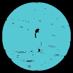 Landscape sea ocean boat badge