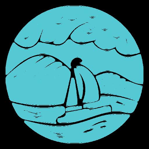 Paisaje mar océano barco insignia Transparent PNG