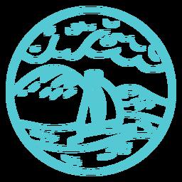 Paisaje mar océano barco trazo insignia