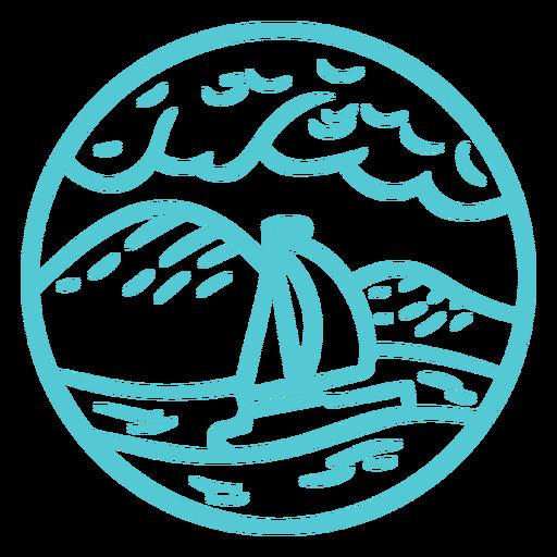 Landscape sea ocean boat stroke badge Transparent PNG