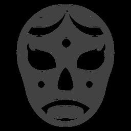 Luchador crescente máscara detalhada silhueta
