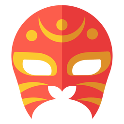 Luchador mask crescent circle flat
