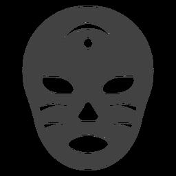 Luchador máscara crescente silhueta detalhada