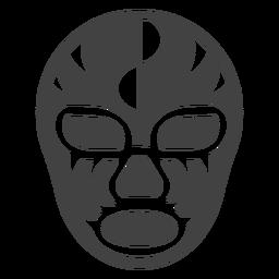 Luchador máscara semicírculo detalhada silhueta