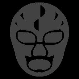 Luchador-Maskenhalbkreisschattenbild einzeln aufgeführt