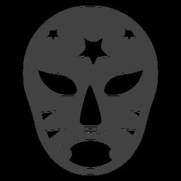 Luchador máscara estrela detalhada silhueta