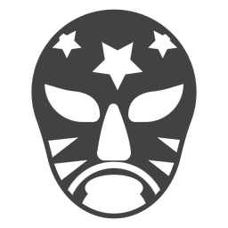 Luchador mask star detailed silhouette