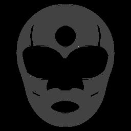 Luchador máscara listra círculo detalhada silhueta