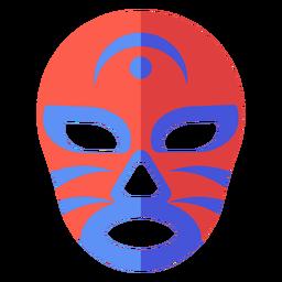 Luchador máscara listra crescente plana