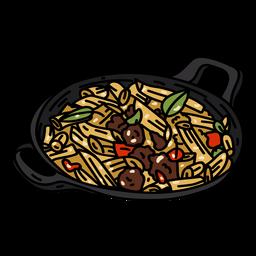 Tazón de pasta macarrones plano