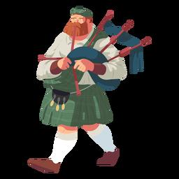 Hombre gaita falda escocesa sporran escocés plana