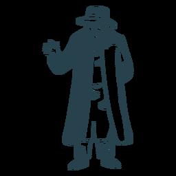 Hombre viejo saludo judío silueta detallada