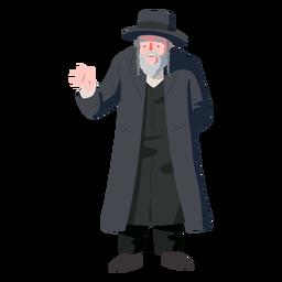 Hombre viejo saludo judío plana