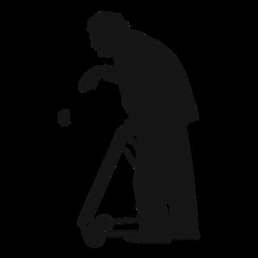 Man old walker silhouette