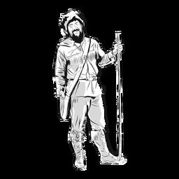 Man pionner beard illustration