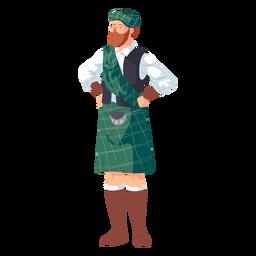 Homem escocês sporran kilt plana