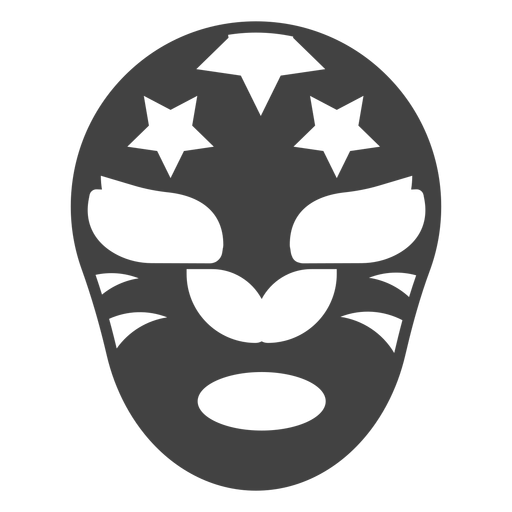 Mask luchador star detailed silhouette